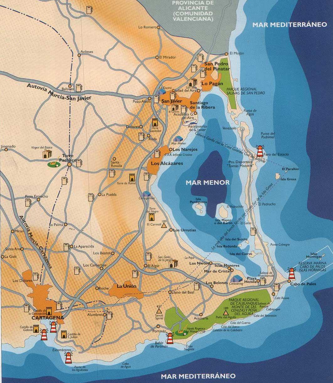 Mar Menor Mapa Fisico.Mapas Del Mar Menor