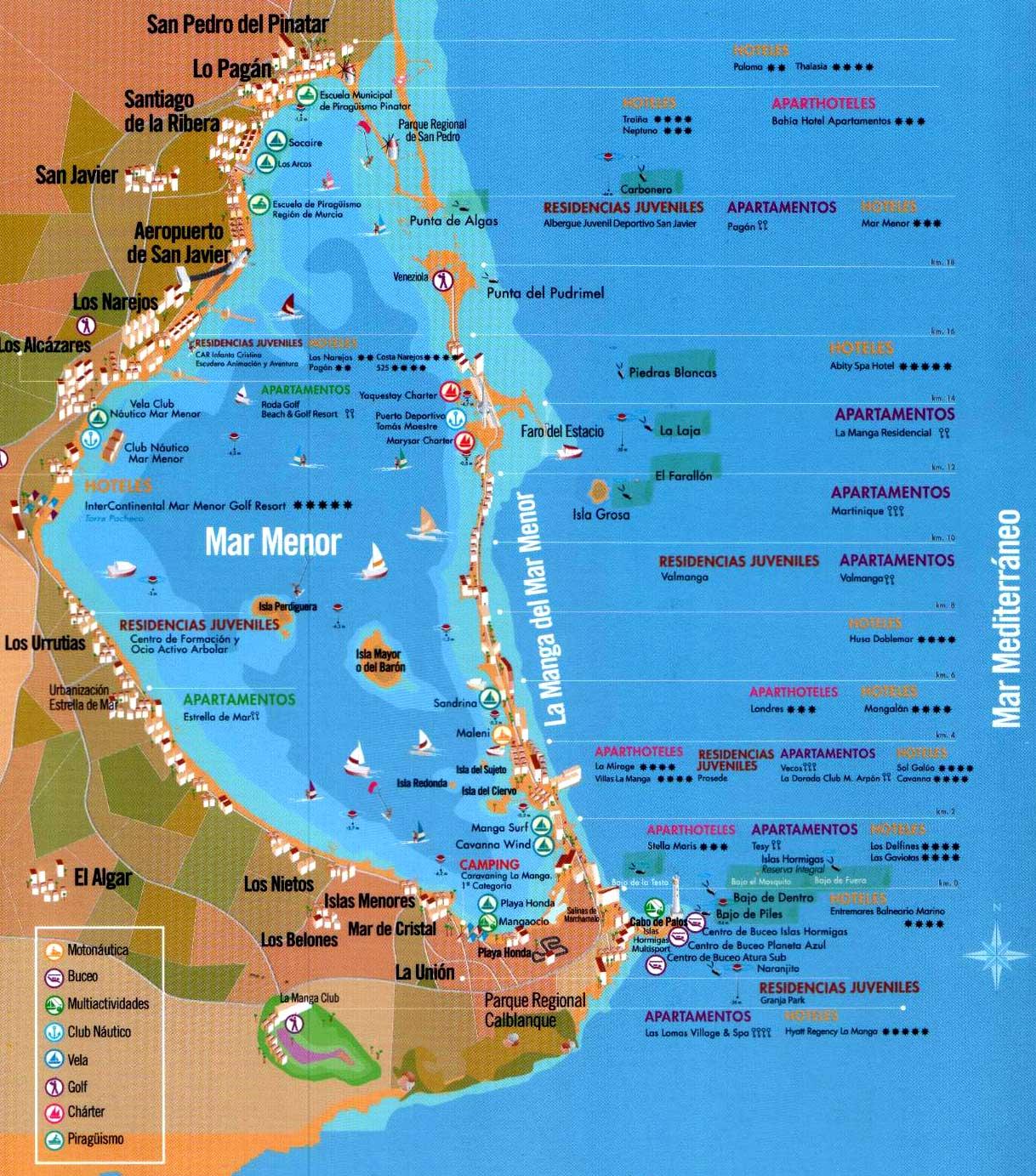 la manga del mar menor mapa Mapas del Mar Menor la manga del mar menor mapa
